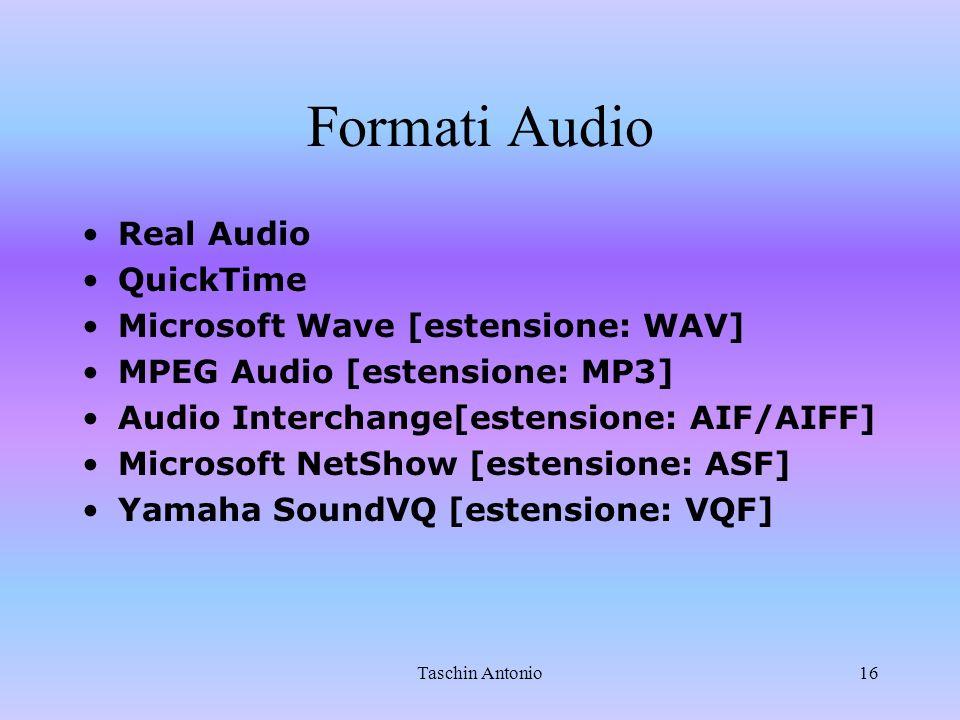 Formati Audio Real Audio QuickTime Microsoft Wave [estensione: WAV]